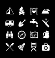 Set icons of camping vector image
