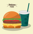 delicious food burger tomato lettuce cheese and vector image