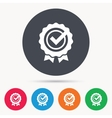 Award medal icon Winner emblem with tick sign vector image vector image