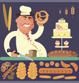 bakery shop and chef vector image