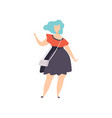 beautiful plus size fashion woman with blue dyed vector image vector image