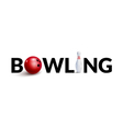 Bowling word 3d design template Bowl and skittle vector image