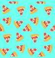 bright pattern with sliced pizza on blue vector image