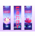 candy planet banners with sweets and lollipop vector image