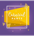 carnival concept banner with mask stars vector image
