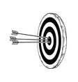 cartoon target or clout with three bow arrows vector image