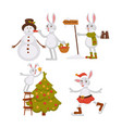 christmas bunny and snowmanwith hat activities vector image