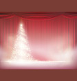 christmas tree on a background red curtain vector image vector image