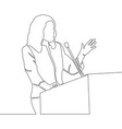 continuous line drawing business woman speaker vector image