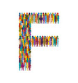 crowd people in form capital letter f flat vector image vector image