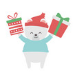 cute polar bear hands up with gifts merry vector image vector image