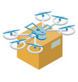 delivery parcel box drone fulfilling order vector image vector image