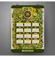 Doodles cartoon curls ornamental floral Calendar vector image vector image