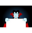Dracula keeps clean sheet Vampire and white banner vector image vector image
