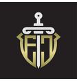 ec logo monogram with sword and shield vector image vector image