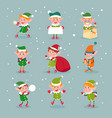 elf cartoon santa claus helpers dwarf christmas vector image vector image