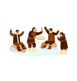 eskimo people clapping hands dance and play vector image vector image