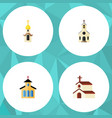 flat icon church set of religion structure vector image vector image