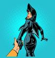 follow me girl shark woman vector image vector image