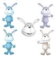 funny cartoon rabbits vector image