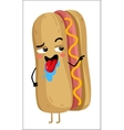 Funny hot dog isolated cartoon character vector image vector image