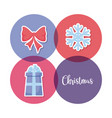 gift box with bow and snowflake of christmas vector image vector image