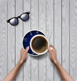 hands holding cup of coffee coffee break vector image