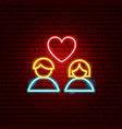 heart couple neon sign vector image vector image