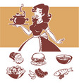 homemade cooking of pinup housewife vector image vector image