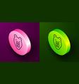 isometric line bear head icon isolated on purple vector image vector image