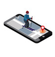 isometric man skiing searching for cross country vector image vector image