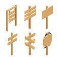 isometric set a wooden signboards empty vector image vector image
