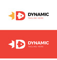 letter d with rocket negative space logo design vector image