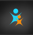 logo of adult and child in blue and orange two vector image