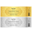 Luxury golden and silver theater ticket with vector image vector image