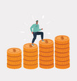 man proudly run on huge money stack vector image vector image