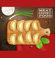 meat gourmet food composition vector image vector image