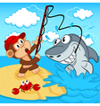 monkey on fishing vector image vector image
