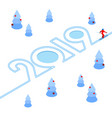 new year 2019 concept - skier vector image