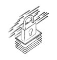 padlock isometric security protection icon vector image
