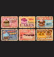 pastry cake desserts metal rusty plates sweets vector image vector image