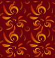 pattern of red doodles and curls in floral vector image vector image