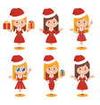 santa claus women in red hats and red dresses vector image