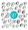 set letter o hand drawn flourish vector image vector image
