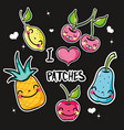 set tropical kawaii patches fruits design vector image vector image