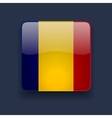 Square icon with flag of Romania vector image vector image