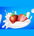 strawberry and yogurt milk splashes vector image vector image