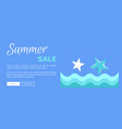 summer sale web poster with abstract sea or ocean vector image vector image