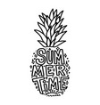 summertime silhouette pineapple with lettering vector image vector image