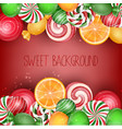 sweets background with orange slice vector image vector image